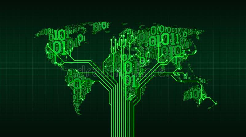 从数字式二进制编码的抽象世界地图在栅格背景,城市之间的连接以一个印制电路b的形式 库存例证