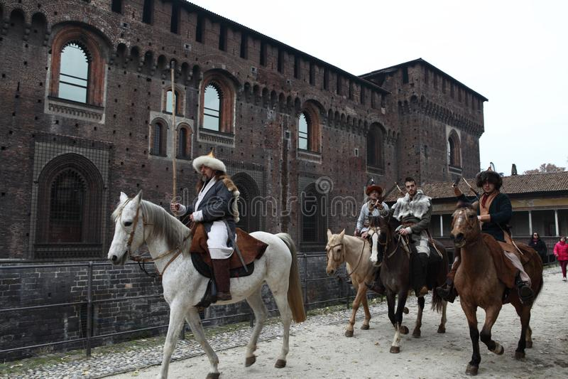 从斯卡拉大剧院的维尔蒂的阿提拉侵略城市与第一普遍2018年-米兰,伦巴第,意大利 免版税库存照片