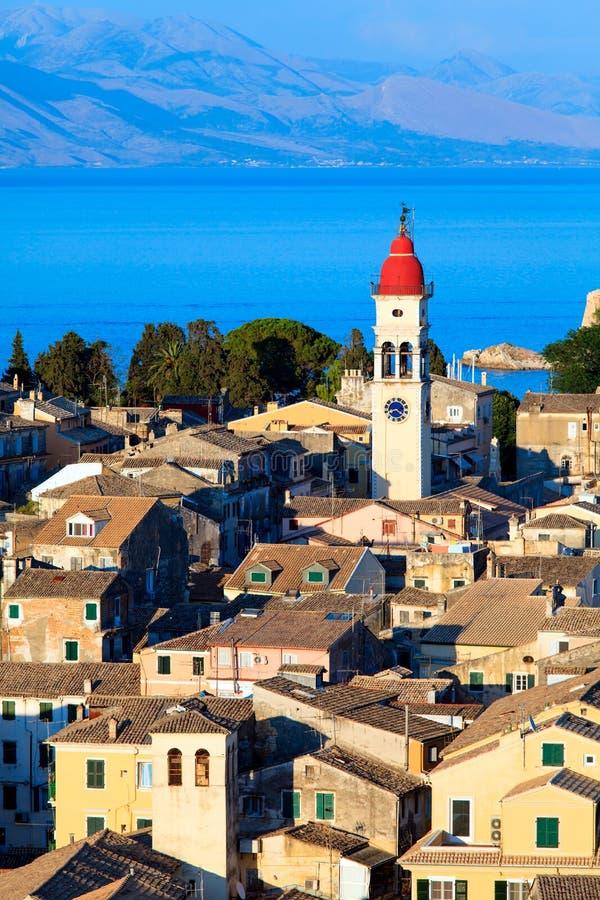 从新的堡垒, Corfu市的鸟瞰图 库存图片
