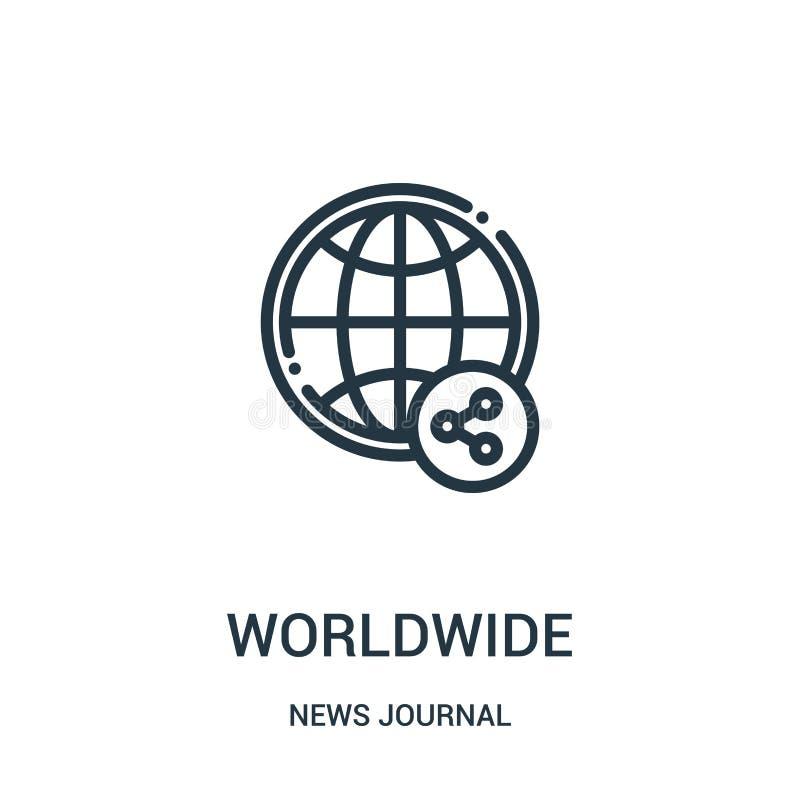 从新闻学报汇集的全世界象传染媒介 稀薄的线全世界概述象传染媒介例证 线性标志为使用 向量例证