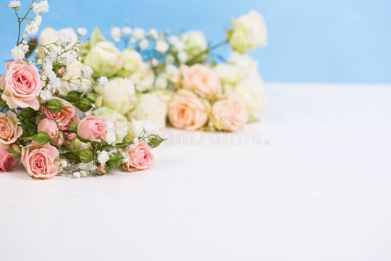 从新鲜的白色gypsofila的边界和反对蓝色织地不很细背景的白色玫瑰色花 免版税库存图片