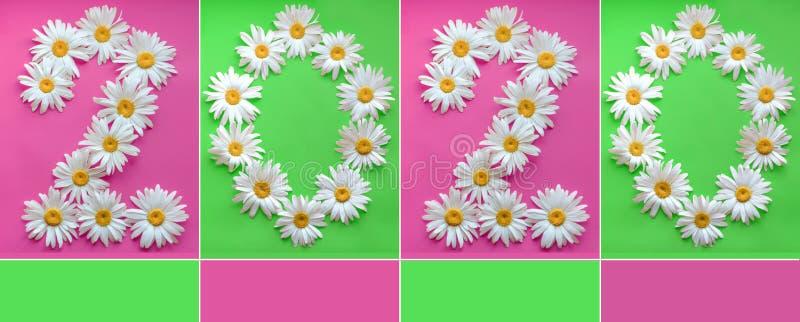 从新鲜的雏菊的题字2020年在色的背景 0,2,阿拉伯数字 r 大雏菊创造a 图库摄影