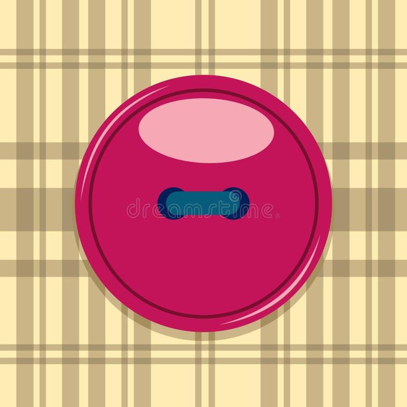 从方格的织品缝合的红色动画片按钮 库存例证