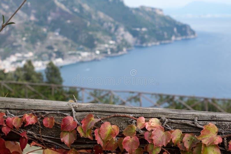 从无限大阳台拍的照片在别墅Cimbrone,阿马尔菲海岸,意大利庭院  库存照片
