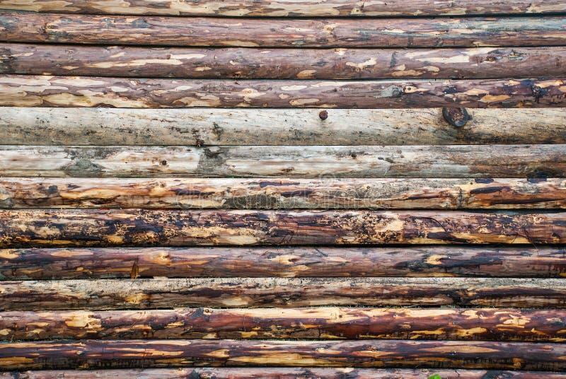 从日志的木墙壁作为背景纹理 库存照片