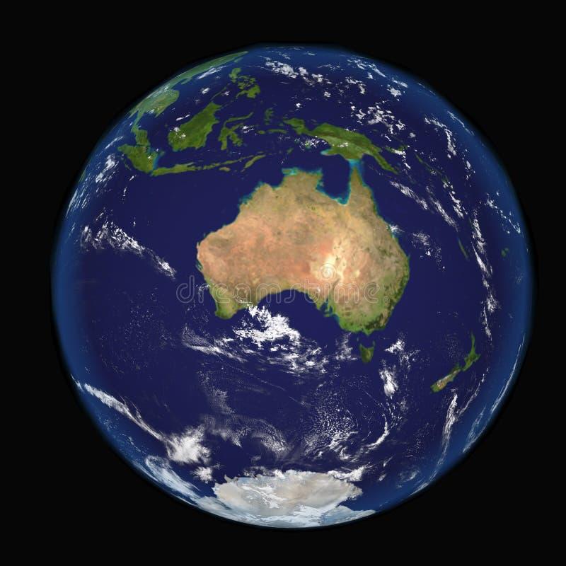 从显示澳大利亚和印度尼西亚的空间的地球 极端详细的图象包括美国航空航天局装备的元素 其他orienta 库存例证