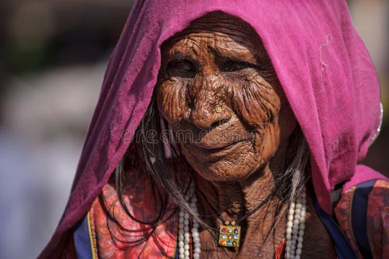 从普斯赫卡尔的印地安部族妇女 免版税库存图片