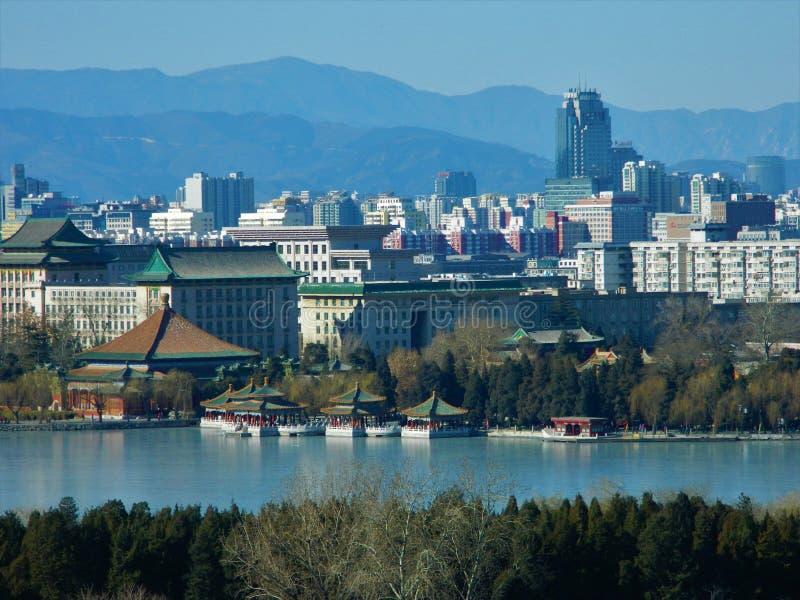 从景山公园,中国的北京视图 免版税图库摄影