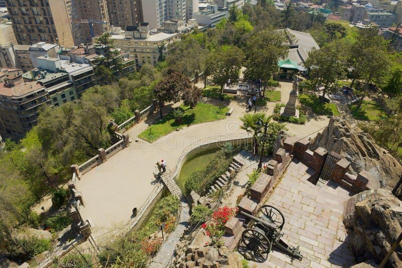从智利圣地亚哥的圣卢西亚山堡垒看 免版税库存图片