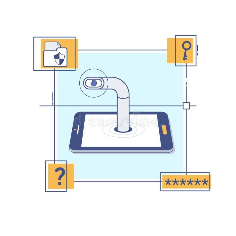 从智能手机的暗中侦察的数据,跟踪流动用户 窃取密码数据的黑客-给病毒,银行帐户乱砍发电子邮件 向量例证