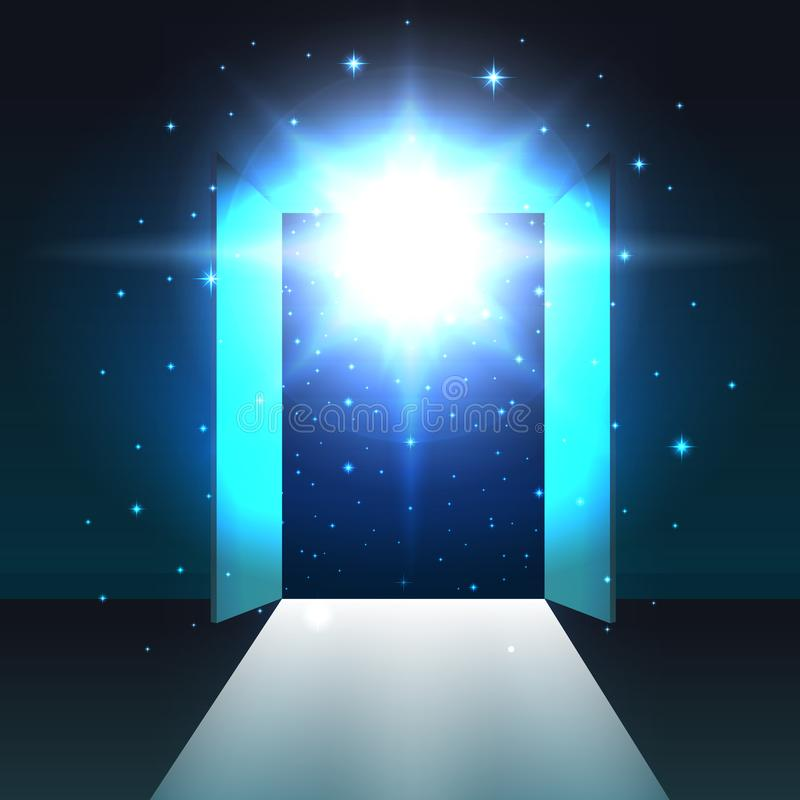 从暗室打开,摘要神秘的发光的出口,背景,门户开放主义的模板,嘲笑的开放双门 库存例证