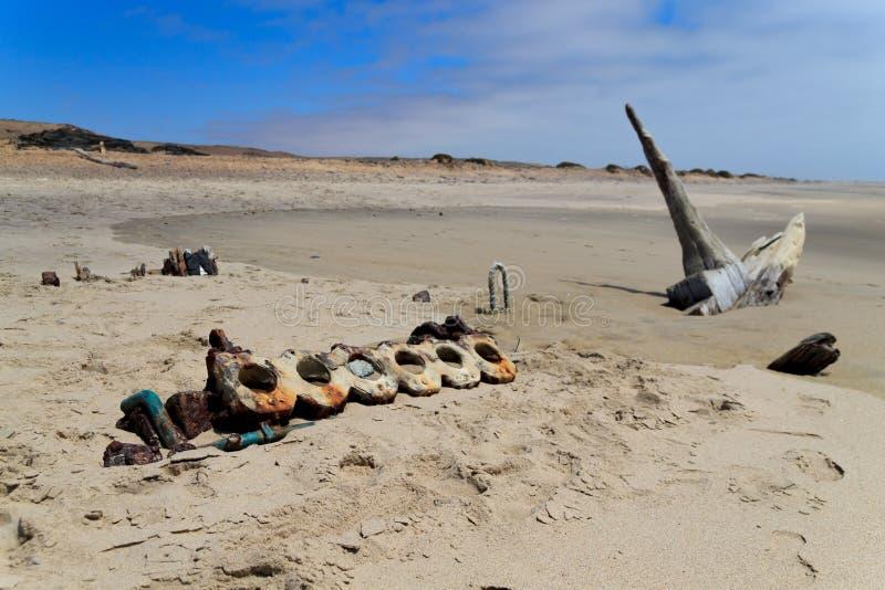 从最基本的海岸的海难 免版税库存图片
