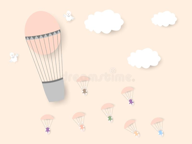 从有小鸡的一个气球,与复活节的兔子在降伞上色了鸡蛋飞行 愉快的复活节 向量例证