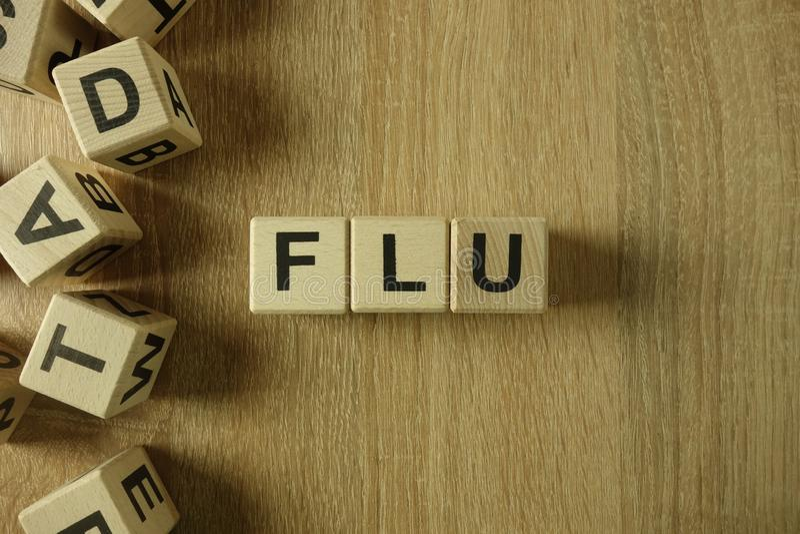 从木块的流感词 库存照片