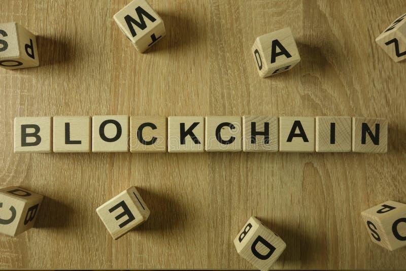 从木块的Blockchain词 库存图片