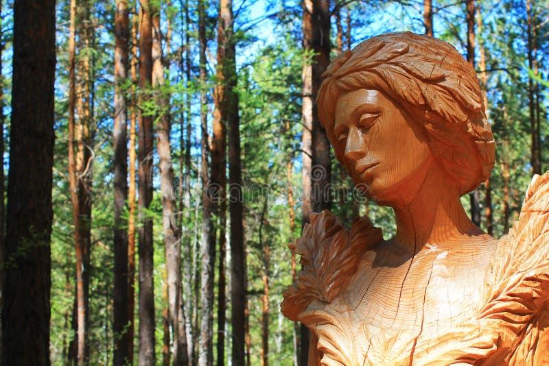 从木头雕刻的人的面孔 木工艺 库存图片