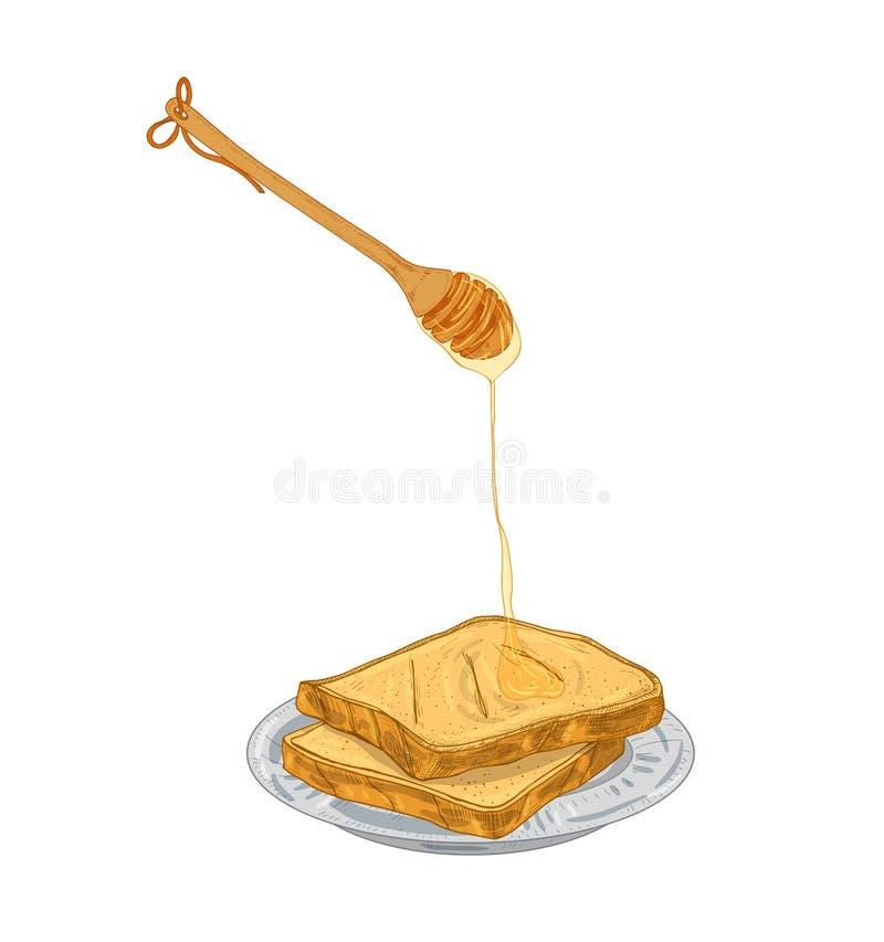 从木浸染工的蜂蜜水滴在面包切说谎在板材 甜早餐膳食,被隔绝的健康点心  皇族释放例证