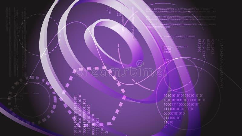 从未来圆纹理真正接口空间魔术的紫罗兰色抽象现代能源技术数字HUD显示元件 皇族释放例证
