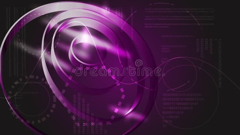 从未来圆纹理真正接口空间魔术的紫罗兰色抽象现代能源技术数字HUD显示元件 向量例证