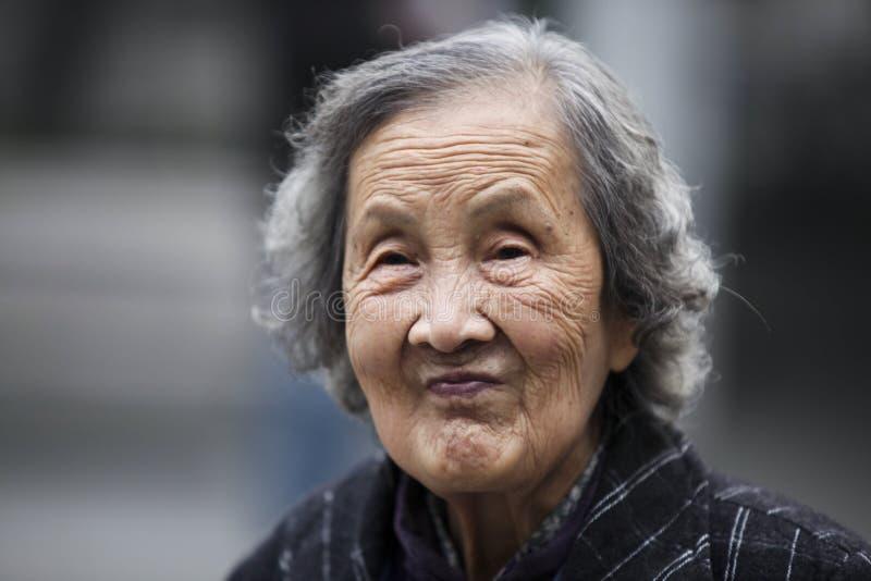 从杭州,泰国的中国老妇人 库存照片