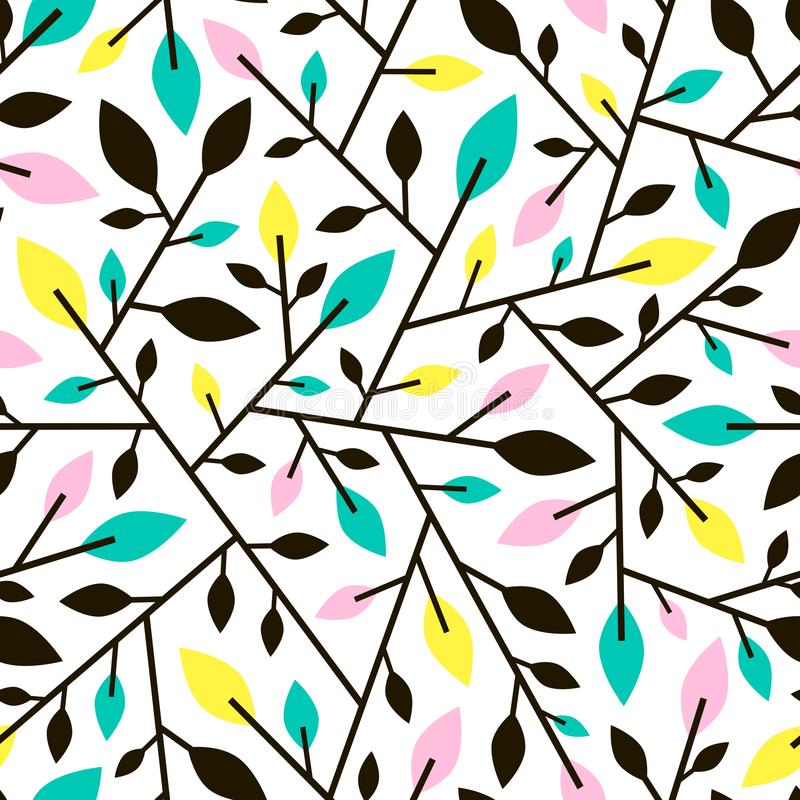 从枝杈和叶子的无缝的几何样式 皇族释放例证