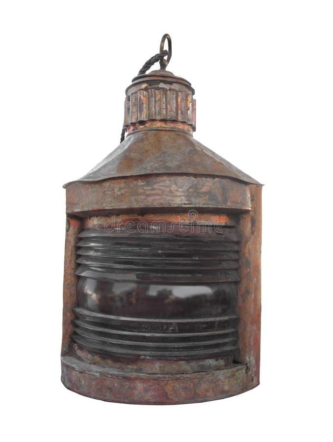 从查出的船的老和破旧的灯笼。 免版税库存图片