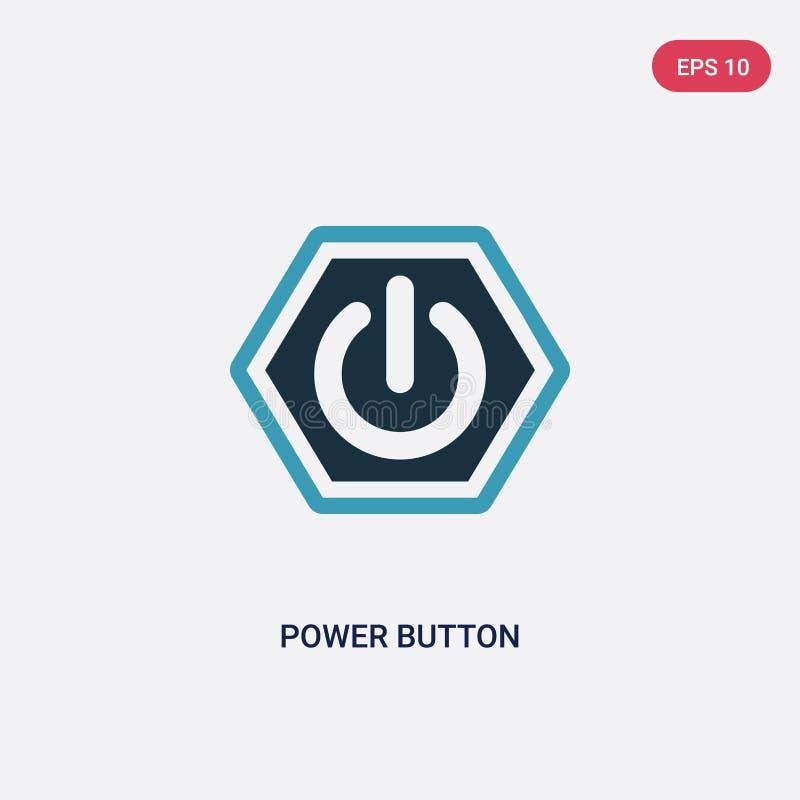从标志概念的两种颜色的力量按钮传染媒介象 被隔绝的蓝色力量按钮传染媒介标志标志可以是网的,机动性用途 库存例证
