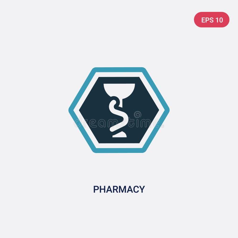从标志概念的两种颜色的药房传染媒介象 被隔绝的蓝色药房传染媒介标志标志可以是网、机动性和商标的用途 皇族释放例证