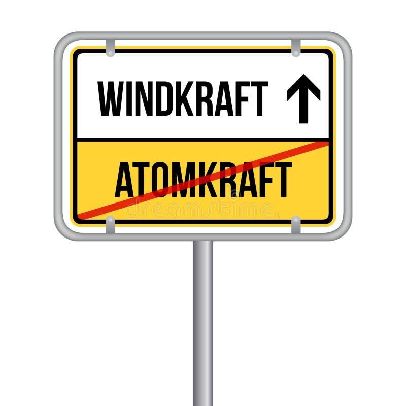 从核能到风能标志 德国翻译:冯Atomkraft zu Windkraft Schild 库存例证