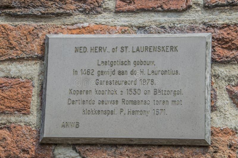 从格罗特或Laurens教会的名字板极韦斯普的荷兰 免版税库存照片