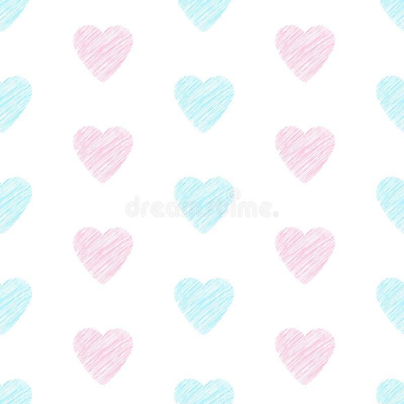 从桃红色和蓝色心脏的无缝的样式 向量例证