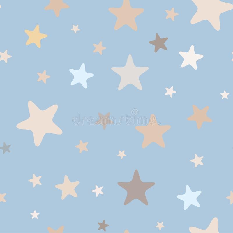 从桃红色星的无缝的简单的轻的样式与圆角落 皇族释放例证
