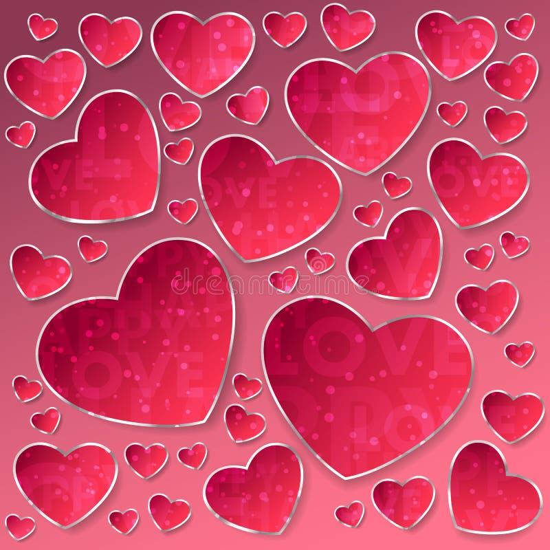 从桃红色纸心脏的贴纸与银色框架和五彩纸屑、闪闪发光,尘土与在爱上写字和愉快在桃红色背景 库存例证