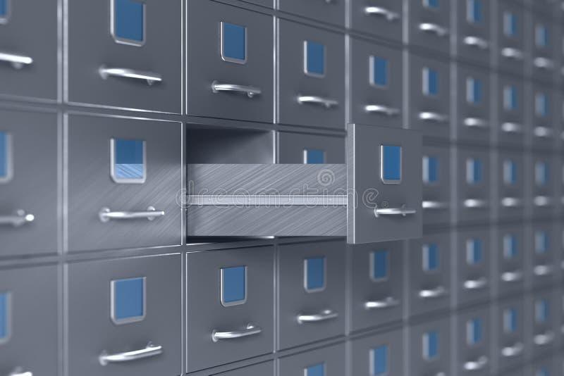 从档案橱柜的墙壁 3d?? 向量例证