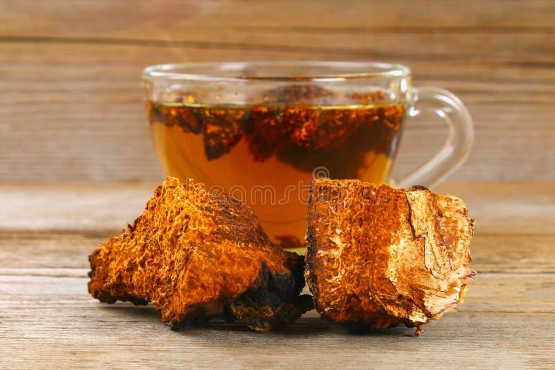从桦树蘑菇chaga的医治用的茶用于民间医学 免版税库存照片