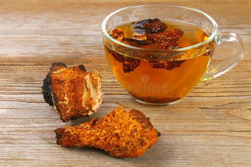 从桦树蘑菇chaga的医治用的茶用于民间医学 图库摄影