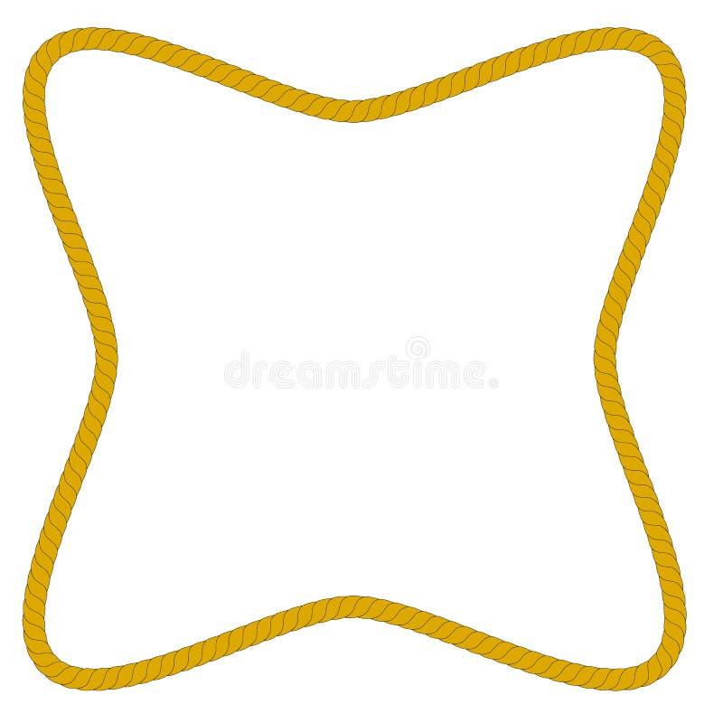 从棕色绳索,矩形波形状的框架,隔绝在白色 向量例证