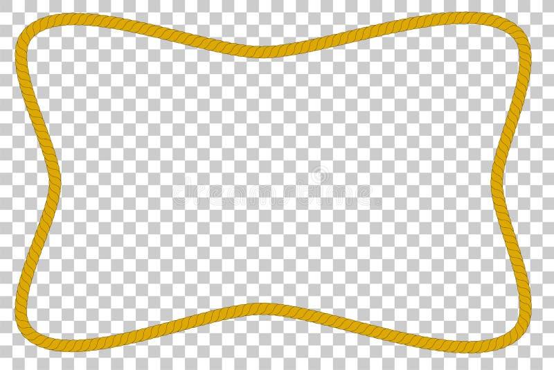 从棕色绳索,长方形波形的框架,在透明作用背景 库存例证