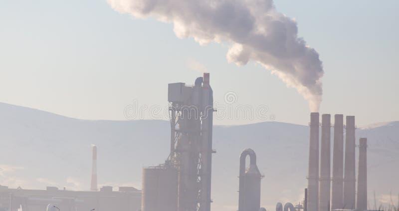 从植物的烟囱抽烟本质上 免版税库存照片