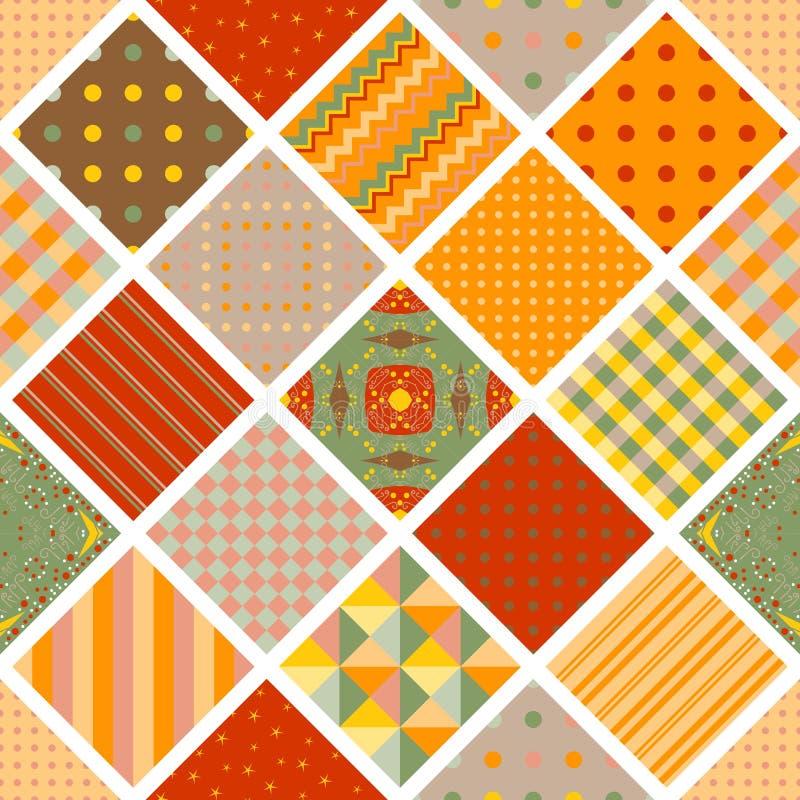 从正方形的无缝的样式与几何装饰品 五颜六色的补缀品印刷品 纺织品的,织品,包装纸明亮的设计 向量例证