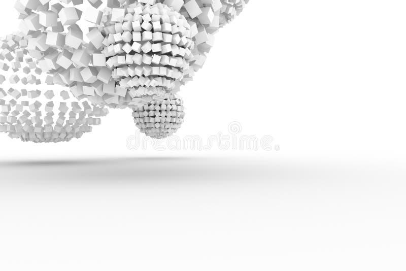 从正方形,软绵绵地白色现代的样式的球形&灰色背景 线,翻译,黑&梦想 向量例证