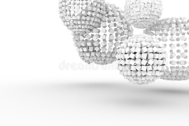 从正方形,软绵绵地白色现代的样式的球形&灰色背景 黑色,背景,创造性&墙纸 库存例证
