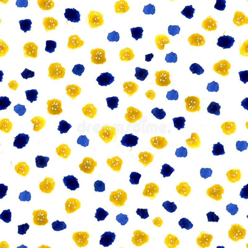 从水彩污点的无缝的样式和与任意元素的白色背景 设计的被加点的抽象样式  皇族释放例证