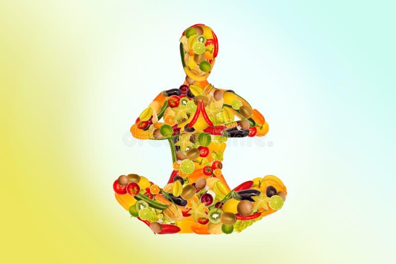 从水果和蔬菜的思考的妇女 向量例证