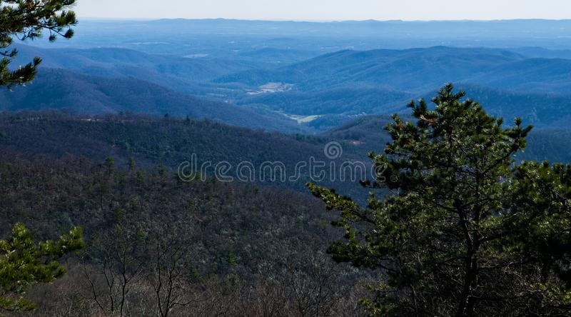 从水池小海湾的蓝岭山脉俯视,蓝岭山行车通道,北卡罗来纳,美国 免版税库存照片