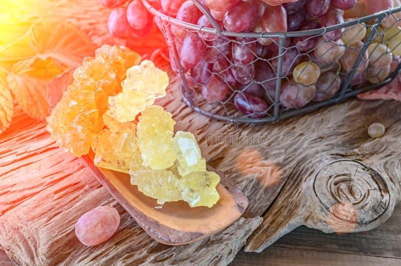 从汁液的干水晶葡萄糖 糖替补 免版税库存图片