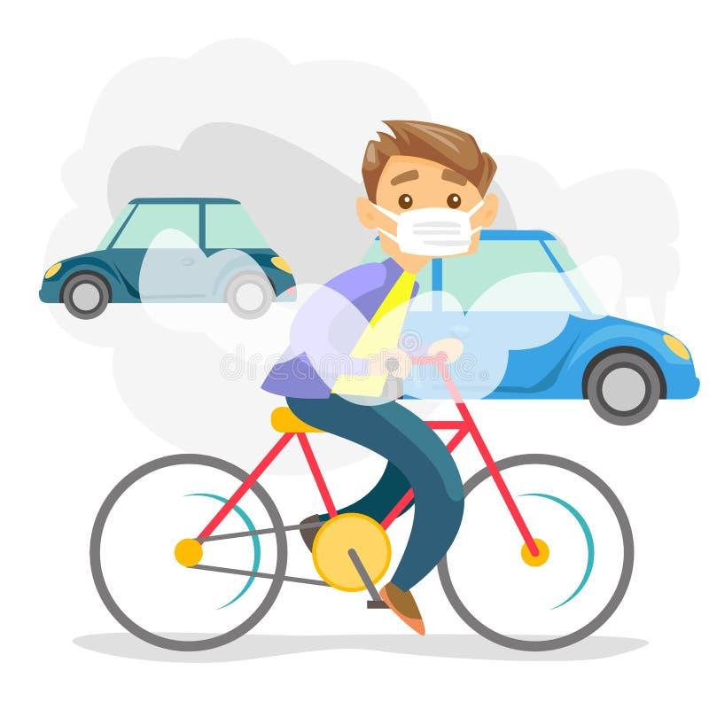从汽车的二氧化碳排放造成的大气污染 向量例证