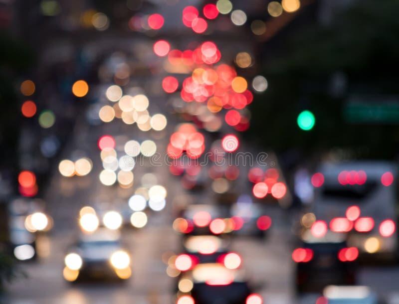从汽车车灯的轻的迷离在纽约 库存照片