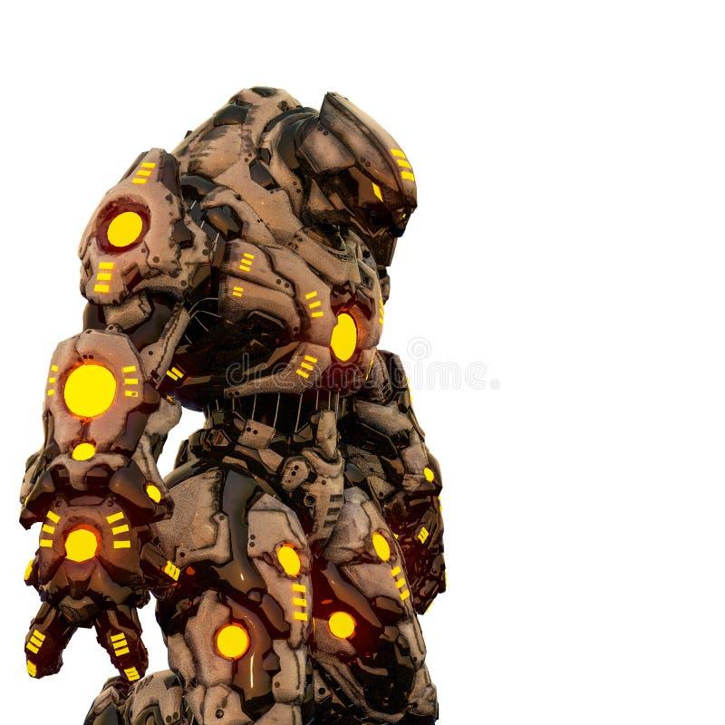 从沙漠的掠食性动物和黄色发光的机器人在白色背景中 皇族释放例证