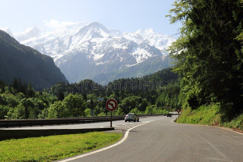 从法国N205的看法在勃朗峰断层块 库存图片